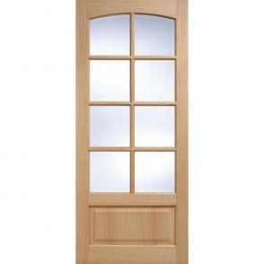 Internal Oak Unfinished Worthing 8L Door with Clear Bevelled Glass