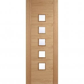 Internal Pre-Finished Oak Carini Glazed 5L Door