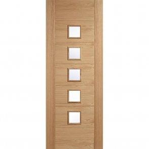 Internal Pre-Finished Oak Carini Glazed 5L Door