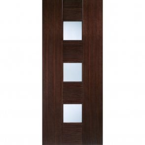 Internal Walnut Pre-Finished Catalonia Door with Linea Glass