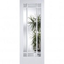 Internal White Primed Manhattan Door with Clear Bevelled Glass