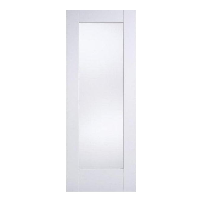 LPD Doors Internal White Primed Shaker 1P Door with Clear Glass