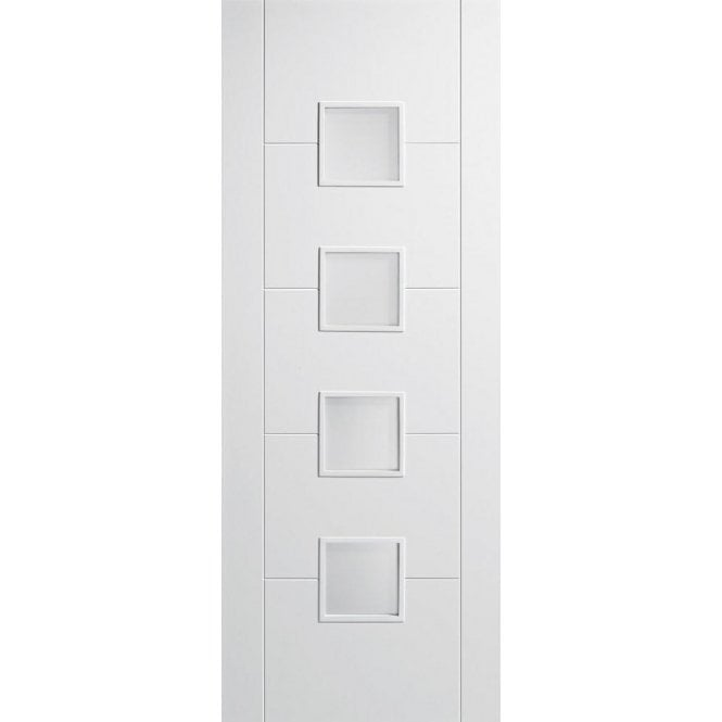 LPD Doors Internal White Primed Vancouver 4L Door with Frosted Glass