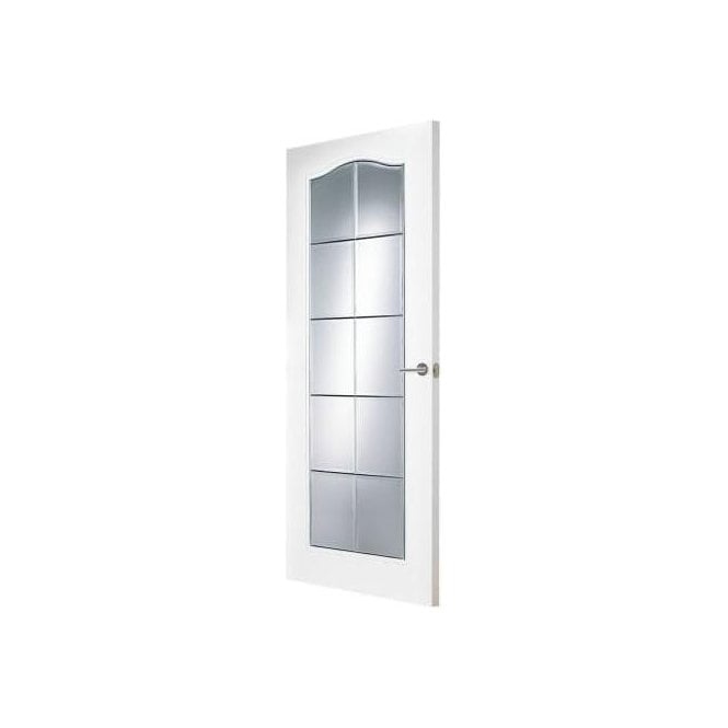 Premdor Internal White Primed Columbia Clear Bevelled Glass Doors