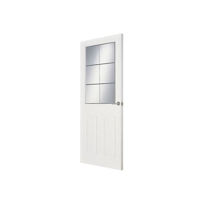 Premdor Internal White Primed Manitoba Clear Bevelled Glass Doors Leaders