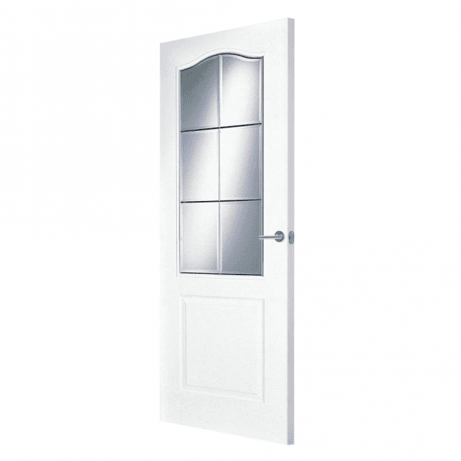 Premdor Internal White Primed Saskatchewan Door with Clear Bevelled Glass
