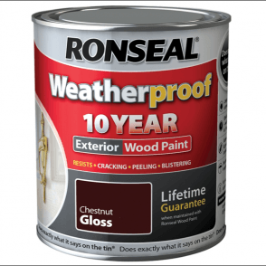 Ronseal 10 Year Weatherproof Exterior Wood Paint Chestnut Gloss 750ml
