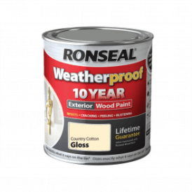 Ronseal 10 Year Weatherproof Exterior Wood Paint Country Cotton Gloss 750ml