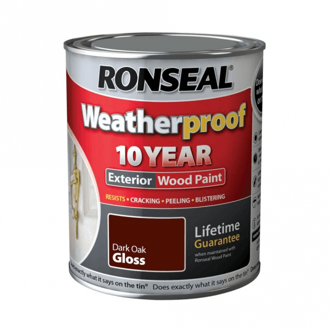 Ronseal 10 Year Weatherproof Exterior Wood Paint Dark Oak Gloss 750ml