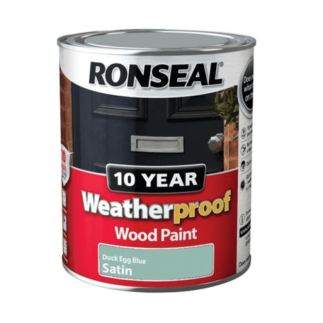 Ronseal 10 Year Weatherproof Exterior Wood Paint Duck Egg Satin 750ml