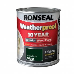 Ronseal 10 Year Weatherproof Exterior Wood Paint Racing Green Gloss 750ml