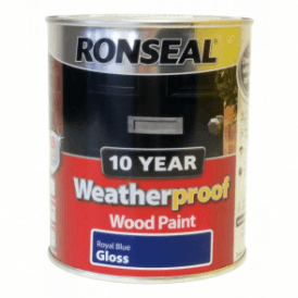 Ronseal 10 Year Weatherproof Exterior Wood Paint Royal Blue Gloss 750ml
