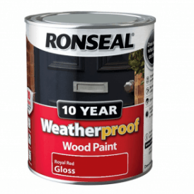 Ronseal 10 Year Weatherproof Exterior Wood Paint Royal Red Gloss 750ml