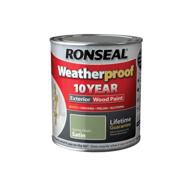 Ronseal 10 Year Weatherproof Exterior Wood Paint Spring Green Satin 750ml