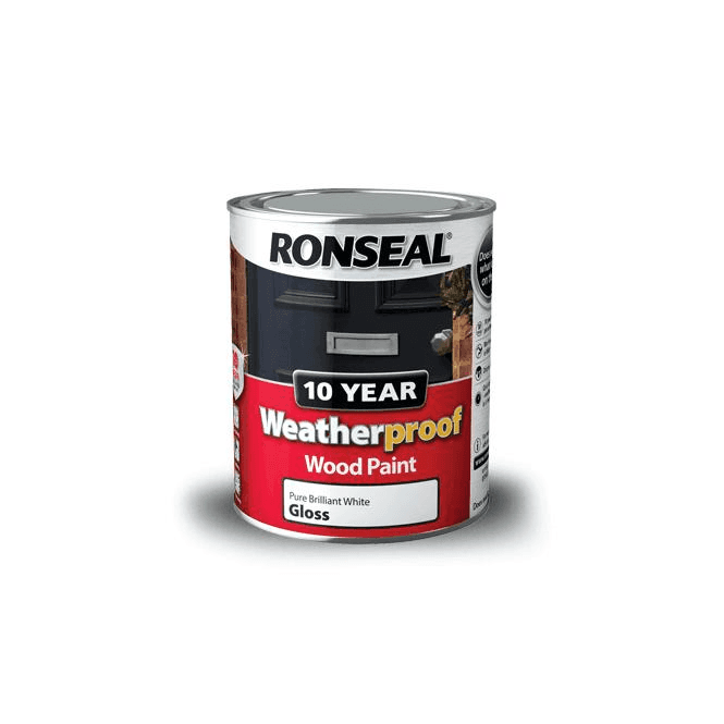 Ronseal 10 Year Weatherproof Exterior Wood Paint White Gloss 750ml