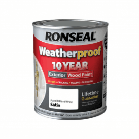 Ronseal 10 Year Weatherproof Exterior Wood Paint White Satin 750ml
