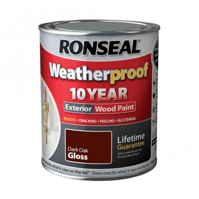 Ronseal 10 Year Weatherproof Exterior Wood Paint Dark Oak Gloss 750ml