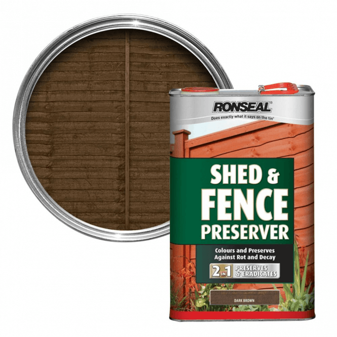 Ronseal Shed and Fence Preserver Dark Brown 5 Litre
