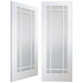 Cheshire Internal White Primed Pair Door With Clear Glass