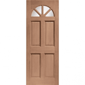 External Hardwood Un-finished Carolina Door with Clear Glass (DOWELLED)
