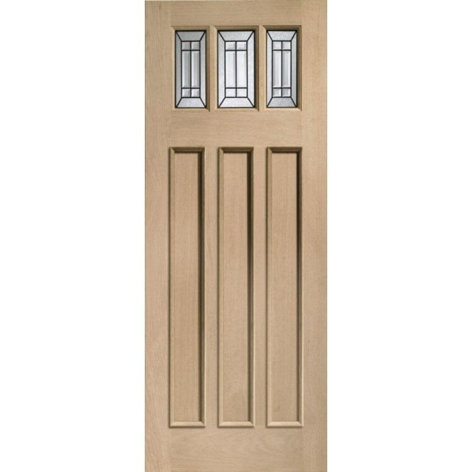 XL Joinery External Oak Balmoral Jade Triple Glazed Door with Black Caming