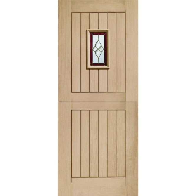 XL Joinery External Oak Chancery Onyx Triple Glazed Stable Door with Brass Caming