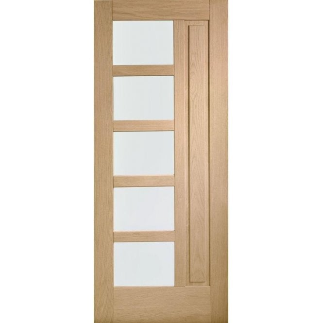XL Joinery External Oak Un-finished Lucca Door with Obscure Glass