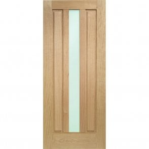 External Oak Un-finished Padova Door with Obscure Glass