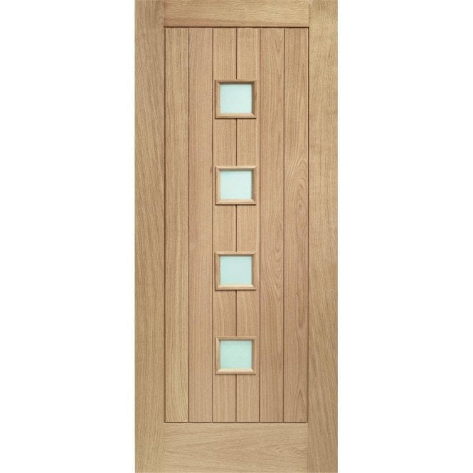 XL Joinery External Oak Un-finished Siena Door with Obscure Glass