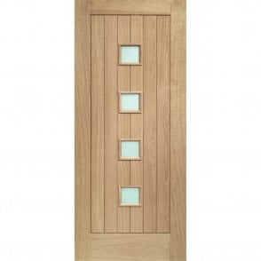 External Oak Un-finished Siena Door with Obscure Glass