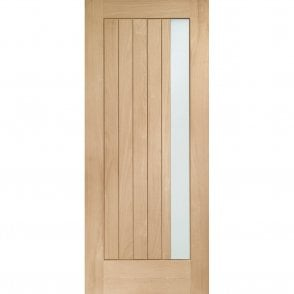 External Oak Un-finished Trieste Door with Obscure Glass