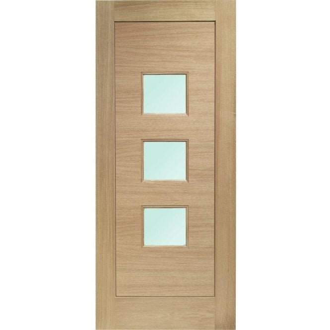 XL Joinery External Oak Un-finished Turin Door with Obscure Glass