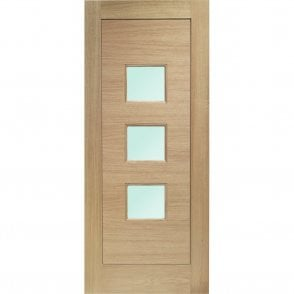 External Oak Un-finished Turin Door with Obscure Glass