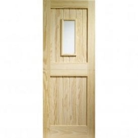 External Pine Un-finished Stable 1 Light with Clear Glass