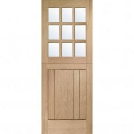 External Un-Finished Oak Stable 9 Light Door with Clear Glass