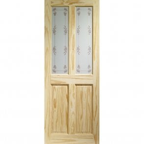 Internal Knotty Pine Victorian Door with Bluebell Glass