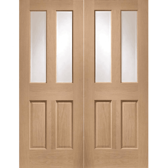 XL Joinery Internal Oak Malton Pair Door with Clear Bevelled Glass