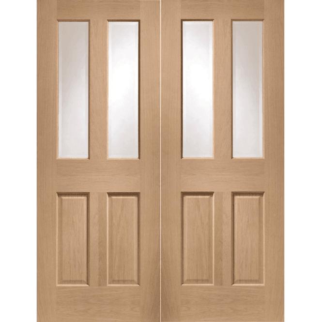 XL Joinery Internal Oak Malton Pair Door with Clear Bevelled Glass