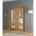 XL Joinery Internal Oak Palermo Pair Door with Clear Glass