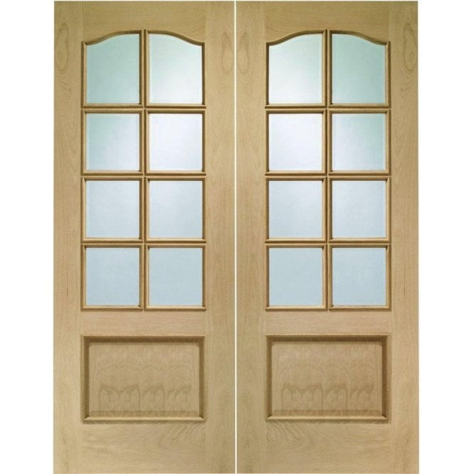 XL Joinery Internal Oak Park Lane Pair Door with Clear Bevelled Glass
