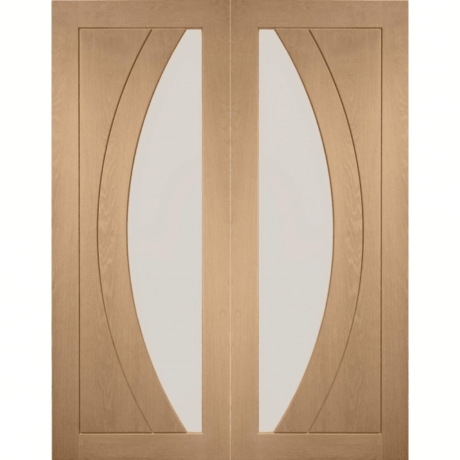 XL Joinery Internal Oak Salerno Pair Door with Clear Glass