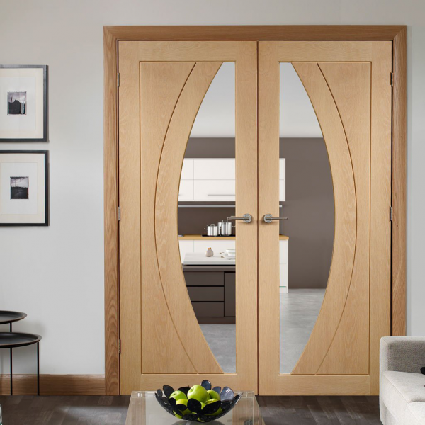 Xl Joinery Internal Oak Rno Pair Door With Clear Glass