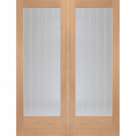 Internal Oak Suffolk Pair Door with Clear Etched Glass