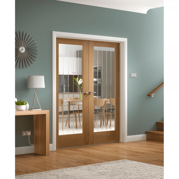 Xl Joinery Internal Oak Suffolk Pair Door With Clear Etched Glass