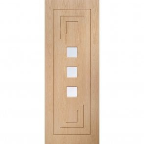Internal Pre-Finished Oak Altino Door with Clear Glass
