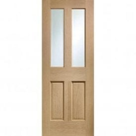 Internal Pre-Finished Oak Malton Door with non Raised Mouldings and Clear Bevelled Glass