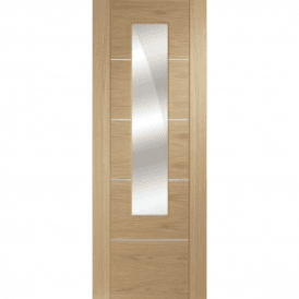 Internal Pre-Finished Oak Portici Door with Mirror Panel