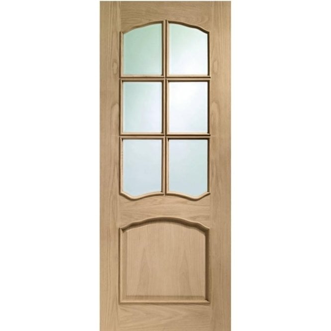 Internal Pre-Finished Oak Riviera Door with Clear Bevelled Glass and Raised Mouldings