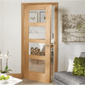 XL Joinery Internal Pre-Finished Oak Shaker 4 Panelled Door with Clear Glass