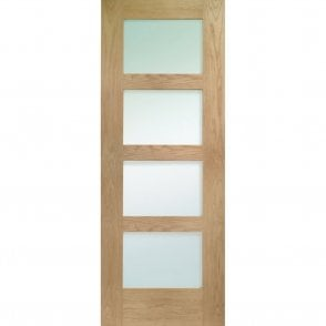Internal Pre-Finished Oak Shaker 4 Panelled Door with Obscure Glass